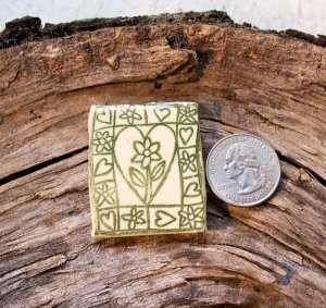 HM Pottery Ceramic *~HEART FLOWER TILE~* Tile /Pendant