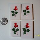4 Mosaic Tiles ~*LONG STEM RED ROSES*~ FOCALS*~