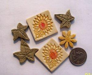 Mosaic Tiles *~SUNFLOWER & LEAVES~* 6 Kiln Fired HM