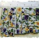 *Colorful* ~JOHNNY JUMP-UPS CHINTZ~* 50+ Mosaic Tiles