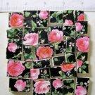 Stunning ~~PINK ROSE CHINTZ on Black~~ 50+ Mosaic Tiles
