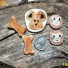 5 Pottery Embellishment~*DOG BONES & FACE*~Mosaic Tiles