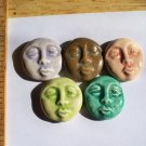 Mosaic Tiles *~ROUND MOON FACES~* 5 Kiln Fired HM Clay