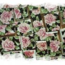 Mosaic Tile ~PRETTY~CHINTZ ROSES~on Black~ 50+ HM Tiles