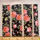 *~PINK ROSES on BLACK CHINTZ- 5 Cut-2-Fit Mosaic Tiles