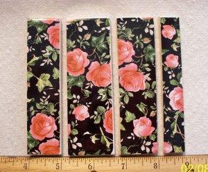 *~PINK ROSES on BLACK CHINTZ- 5 Cut-2-Fit Mosaic Tiles
