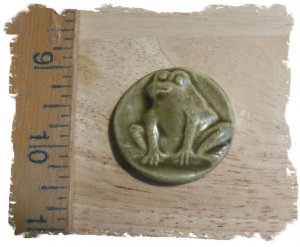 Mosaic Tiles ~MED. OLIVE FROG~ 1 Kiln Fired HM Clay