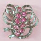 Vintage Pink Rhinestone Pendant Brooch Circle Bow Design