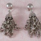 Vintage Coro Earrings Silver Tone Long Chain Screw Back