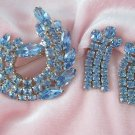 Vintage Blue Rhinestone Brooch Set  Dangling Screw Back Earrings Demi