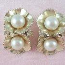 Vintage Coro  Flower Earrings Rhinestone Faux Pearl Floral Design