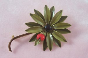 Vintage Original by Robert  Flower Pin Lady Bug Enamel Daisy Brooch