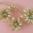 Vintage Unsigned Coro Aurora Borealis Rhinestone Flower Brooch Earring Set 1960's