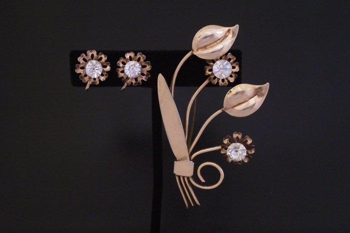 Vintage Art Deco Rhinestone Floral Brooch Earrings Demi Set