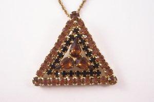 Vintage Parklane Rhinestone Pendant Necklace Topaz and  Black Triangle Design