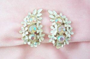 Vintage Aurora Borealis  Rhinestone Earrings Enamel  Dogwood Flowers