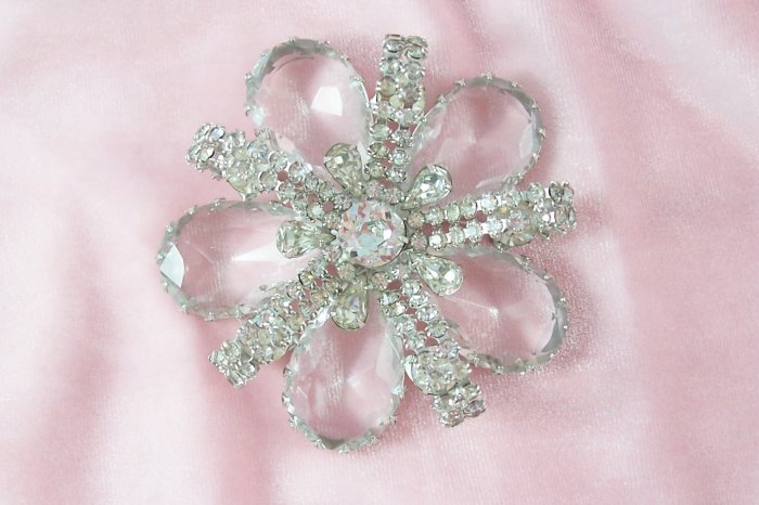 Vintage Crystal Rhinestone Flower Brooch  Pave Ribbons Big Brooch
