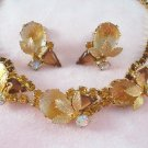 Vintage Topaz Carved Rose Rhinestone Necklace Earring Demi Set