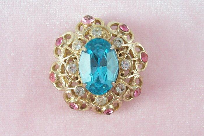 Vintage Coro Pink Aqua Rhinestone Brooch Delicate Domed Pin