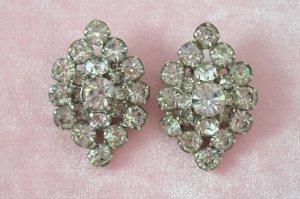 Vintage Rhinestone Earrings Large Fancy Oval Design