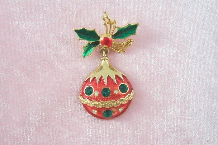 Vintage Rhinestone Christmas Ornament Brooch Pin Red Enamel
