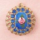 Vintage Blue Rhinestone Guilloche Pink Rose Pendant Delicate Filigree