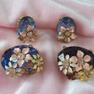 Vintage Blue Cabochon Rhinestone Pin Earrings Set Enamel Flowers
