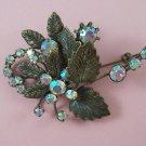 Vintage Austria Aurora Borealis Rhinestone Brooch Floral Spray Signed