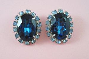 Vintage Large Sapphire Blue Cabochon Rhinestone Earrings Light Blue Rhinestones
