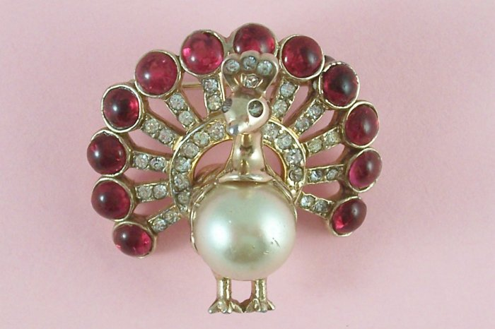 Vintage Castlecliff Brooch Rhinestone Peacock  Figural Ruby Red Cabochons Simulated Pearl