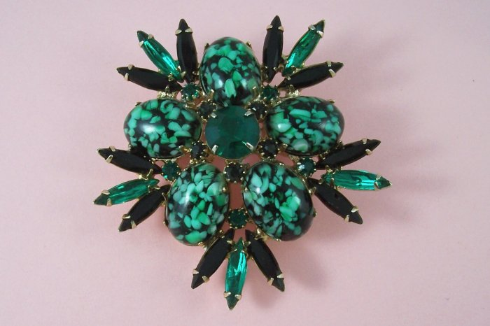 Vintage Green Art Glass Rhinestone Brooch  Black Navette Large and Flashy