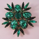 Vintage Green Art Glass Rhinestone Brooch  Black Navette Large and Flashy