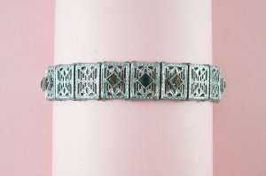Vintage MJ Company Art Deco Filigree Bracelet Square Cut Green and Clear Rhinestones