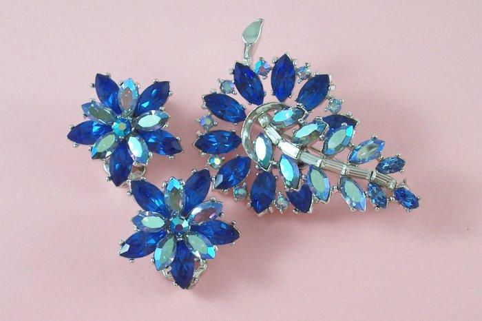 Vintage Capri Blue Rhinestone Brooch Earrings Demi Set Indian Sapphire Aurora Borealis Floral