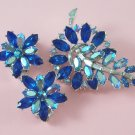 Vintage Capri Blue Rhinestone Brooch Earrings Demi Set Indian Sapphire Aurora Borealis Floral
