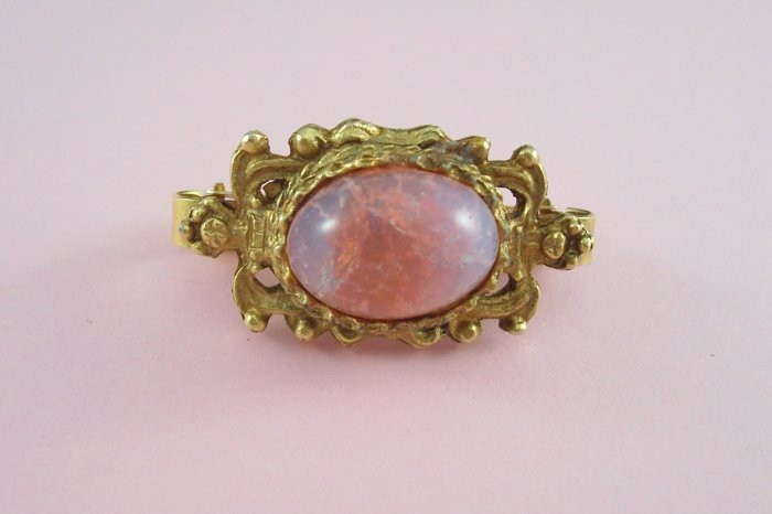 Vintage Pink Givre Crackle Glass Cabochon Scarf Clip Ornate Setting
