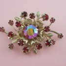 Vintage Red Pink Rhinestone Brooch Pin Floral Style Pink Aurora Borealis Accent