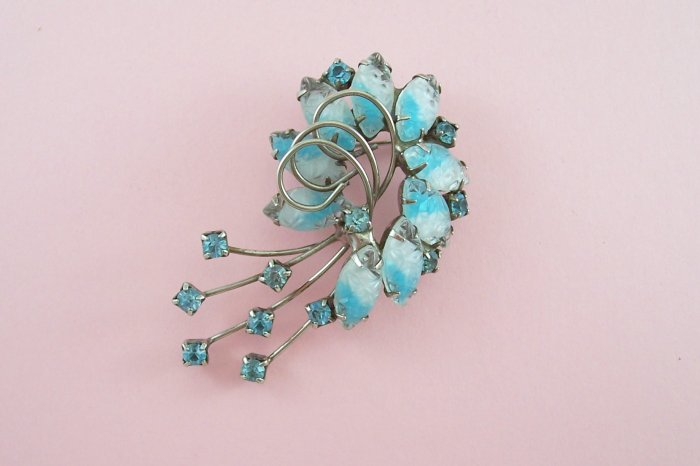Vintage Givre Blue Rhinestone Brooch Swirling Silver Tone Loops and Light Blue Rhinestones