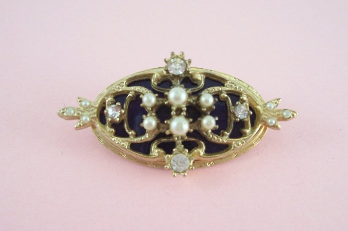 Vintage Rhinestone Simulated Pearl Brooch Royal Blue Background
