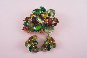 Vintage  Watermelon Rhinestone Brooch Earrings Demi Set Molded Glass Red Green Topaz