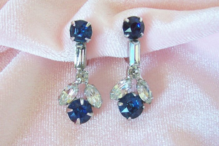 Vintage Sapphire Blue Rhinestone Earrings Screw Back Dangling Baguette and Marquis Rhinestones