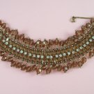 Vintage Weiss Bacelet Topaz Rhinestones Dangling Crystal Beads Wide and Flashy