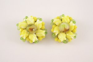 Vintage Germany Yellow Tulip Art Glass Bead Earrings Lime Green Crystals