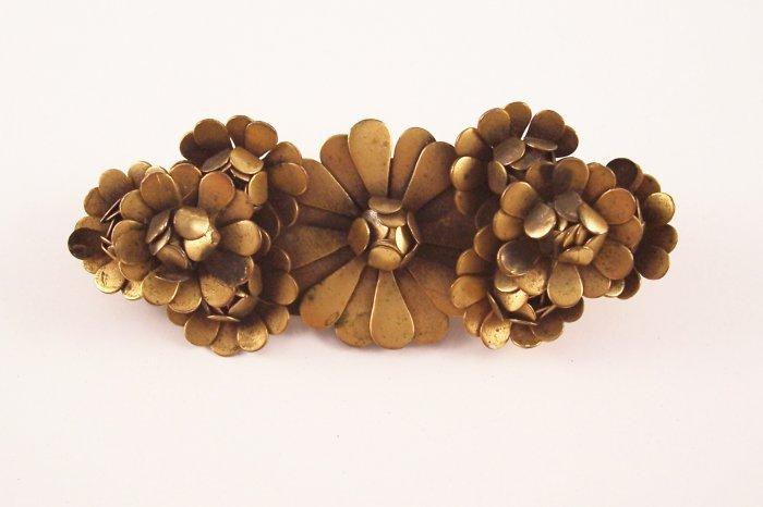 Vintage Art Nouveau Brass Brooch Layered Floral Design