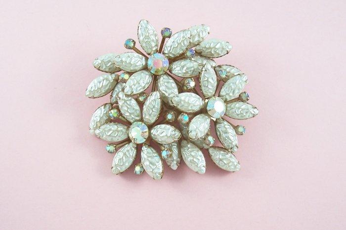 Vintage Iridescent White Moon Rock AB Rhinestone Brooch Large Floral Lava Stones