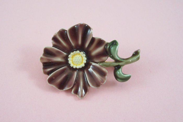 Vintage HAR Flower Brooch Brown Enamel Pin Figural