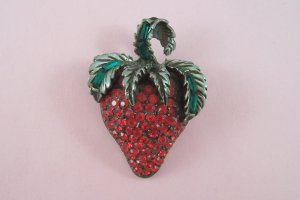 Vintage Pell Red Rhinestone Strawberry Brooch Pave Set Fruit Figural