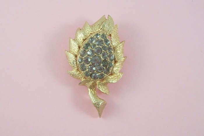 Vintage Eisenberg Ice Brooch Black Diamond Rhinestone Gray Flower