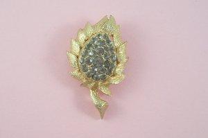 Vintage Eisenberg Ice Brooch Black Diamond Rhinestone Gray Flower