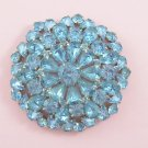 Vintage Blue Rhinestone Brooch Large Tiered Floral Design